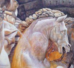 Der Neptunbrunnen in Rom Acryl Gouche Sara Heinrich Fine Art