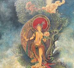 Manjushri Pastell Acryl Gouche Sara Heinrich Fine Art