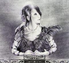 Sara Heinrich Portrait Lea Kohle Fineliner Acryl