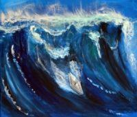 - Papierboot-surft-auf-Meereswelle