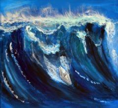 Papierboot-surft-auf-Meereswelle