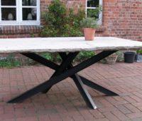 - Sandstein Tisch Stahlbeine 1 x 2 m