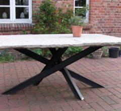 Sandstein Tisch Stahlbeine 1 x 2 m