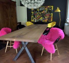 Eichen Tisch mit Stahlbeinen 1 x 3 m