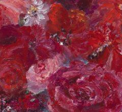 Rote Blumen-Ausschnitt